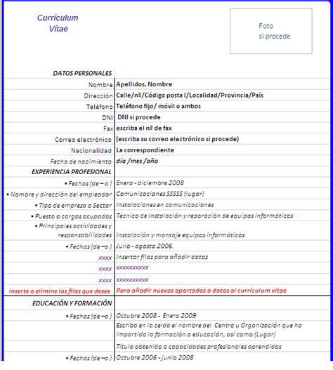 Plantilla Curriculum Vitae Para Rellenar Excel Curr 237 Culum V 237 Tae En Hoja De Excel Copiar Y Pegar En Word