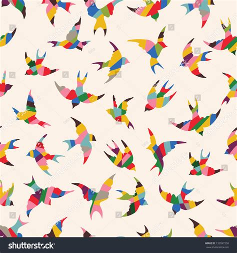 pattern background spring spring birds seamless pattern colorful texture stock