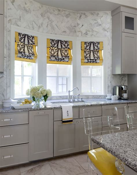 gray and yellow kitchen kitchen sink bay windows design ideas