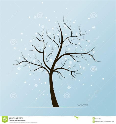 winter tree snowflakes stock vector winter tree and snow flakes stock vector illustration 62415593