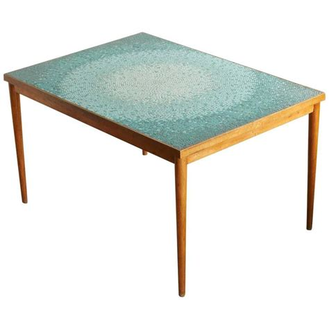 aquamarine mosaic tile dining table attributed to gordon