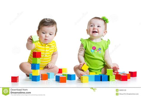 with toddlers two adorable with toys toddlers stock