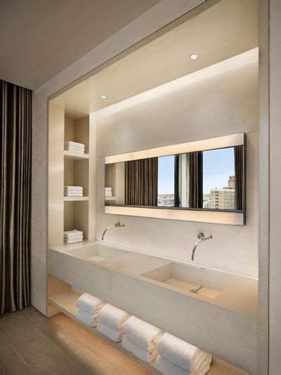 Vanité Salle De Bain Contemporaine by Vanity With Towel Niches Up Side And Below Bathroom