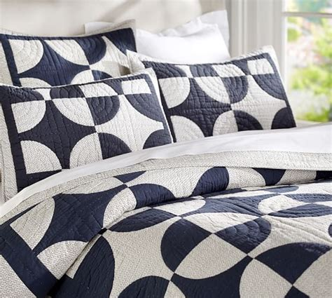 Navy Patchwork Quilt - navy circles patchwork quilt sham pottery barn