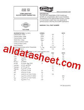 transistor mj2955 datasheet mj2955 datasheet pdf central semiconductor corp