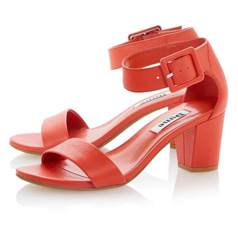 orange sandals for dune fri leather buckle ankle heels in orange lyst