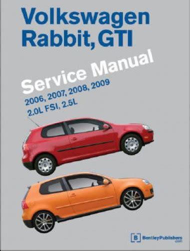 manual repair autos 2008 volkswagen rabbit auto manual volkswagen rabbit gti a5 printed service manual 2006 2007 2008 2009