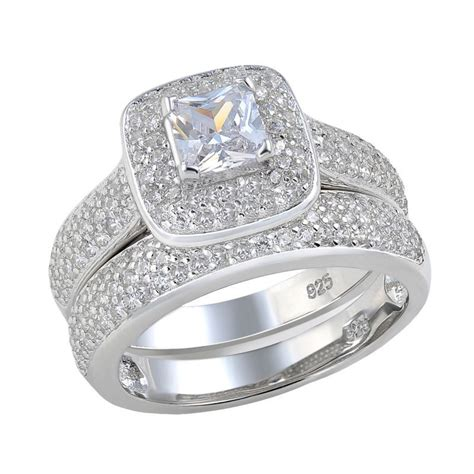princess cut aaa cz halo setting 925 sterling silver