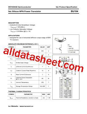 transistor company bu104 datasheet pdf inchange semiconductor company limited