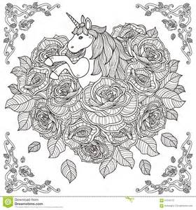 Adorable unicorn and roses background stock vector image