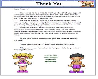 thank you letter to kindergarten thank you letter to parents school ideas