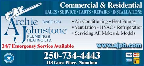 Archie Johnstone Plumbing And Heating by Archie Johnstone Plumbing Heating Ltd Nanaimo Bc 113 Gava Pl Canpages