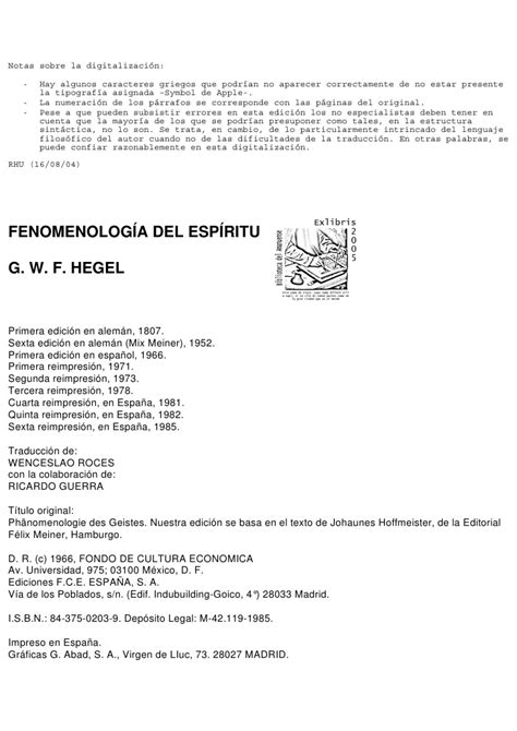 fenomenologia del espiritu fenomenologia hegel georg wilhelm friedrich fenomenolog 237 a del esp 237 ritu 1807 sp