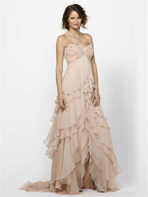 blush tulle tiered strapless beaded wedding dress