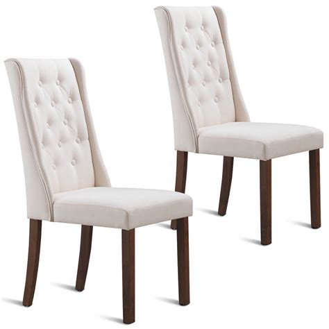 Armless Living Room Chairs by Gymax Set Of 2 Fabric Dining Chairs Armless Tufted Accent