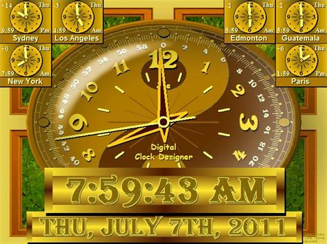 full screen digital clock software  pc desktop alarm world day night map  world earth large
