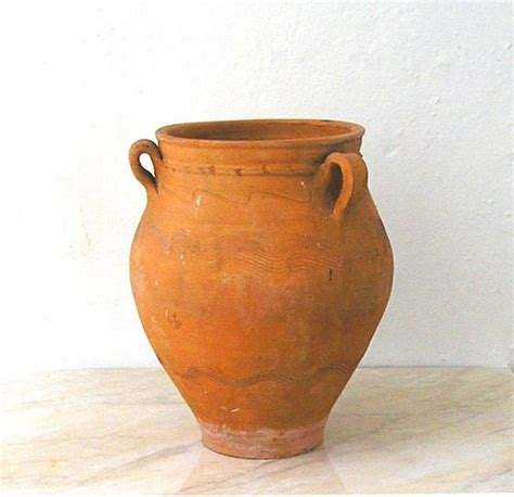 decorated cooking urn vintage terracotta urn planter vase from greece earthenware clay jar with handles drainage