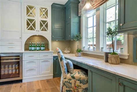Blue Distressed Kitchen Cabinets by White Kitchen Pantry Cabinets With Blue Walls Paint Color