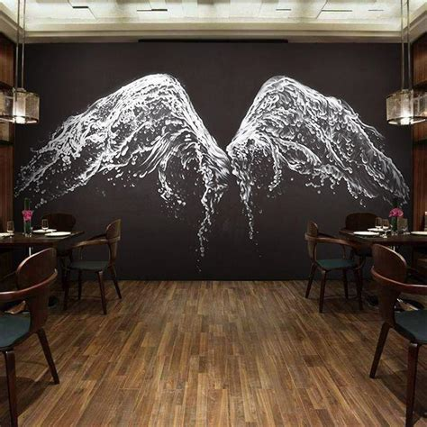 How To Paint Mural On Wall custom photo wallpaper modern black and white angel wings