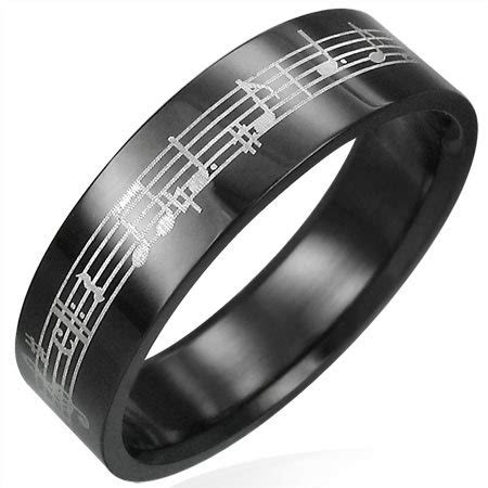 black stainless steel musical notes ring size 7 rings