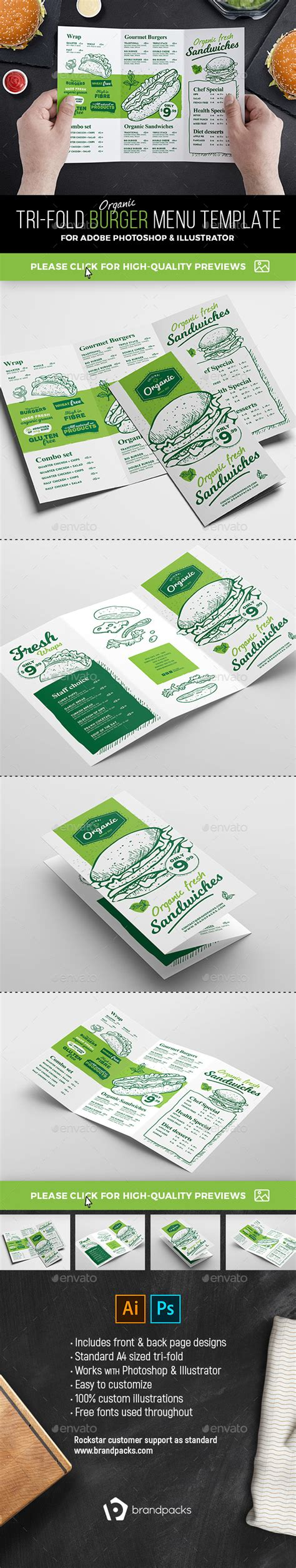 3 fold menu template tri fold burger menu template by brandpacks graphicriver