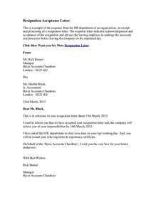 Early Resignation Letter by Employee Resignation Letter Employer Acceptance Images