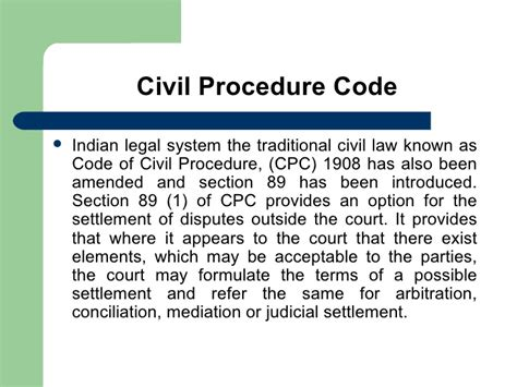 section 89 of code of civil procedure 1908 adr
