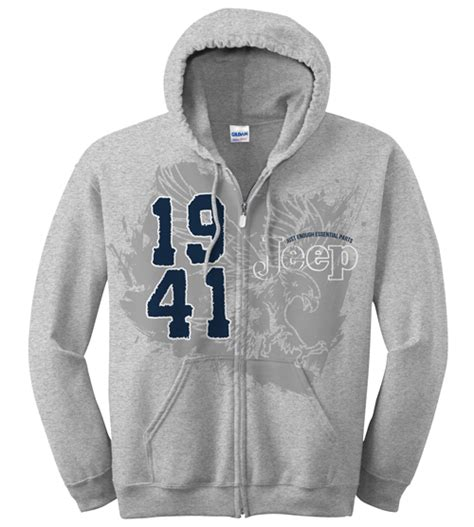 Jeep Hoodies All Things Jeep Jeep Zip Up Hoodie Sweatshirt 1941 Logo