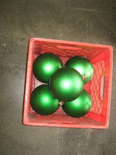 5 ct lot large green plastic christmas ball ornaments 6