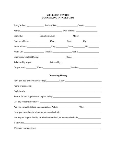 Free Counseling Intake Form Templates At Allbusinesstemplates Com Intake Form Template For Counseling