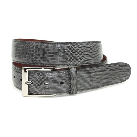torino leather lizard belt grey mensdesignershoe