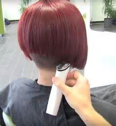 shaved swing bob extreme inverted and stacked bob with short nape