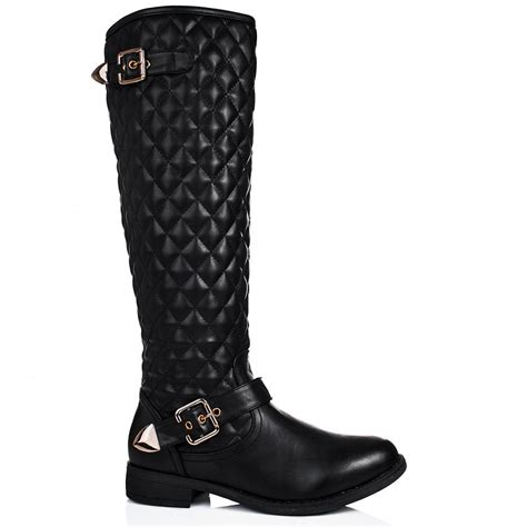Black Quilted Boots by Buy Camilla Flat Buckle Quilted Knee High Boots
