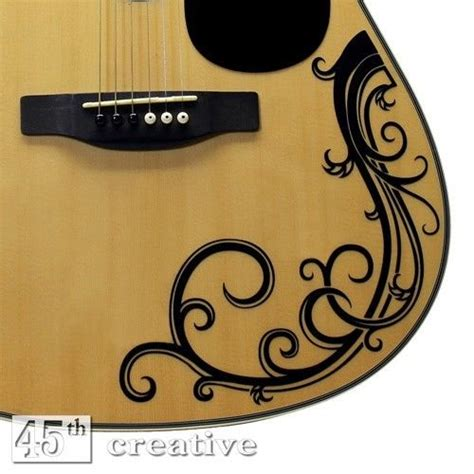 printable guitar stickers acoustic guitar vine decal full size dreadnought