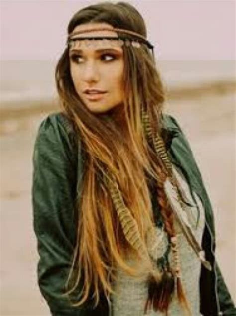 long gypsy hairstyle feather hair extensions my fave crystals stones