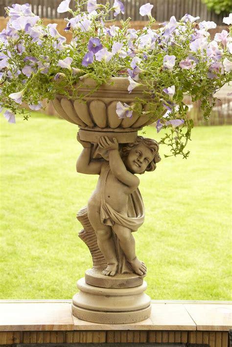 large stone cherub planter garden statue bird bath ebay