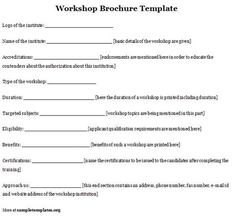 workshop templates brochure template for workshop format of workshop