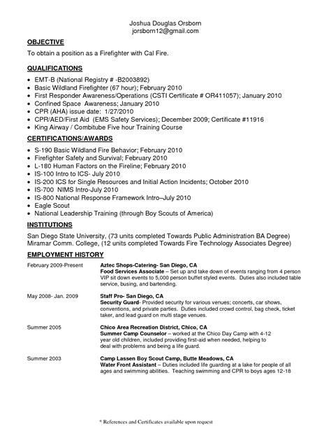 Basic Objective Sle For Resume by Sle Emt Resume 28 Images Paramedic Resume Template 28