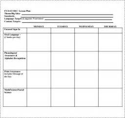 Simple Lesson Plan Template for Preschool   Besttemplates123