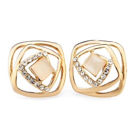 Rhinestone Square Stud Earrings rhinestone square opal stud earrings for 18k gold