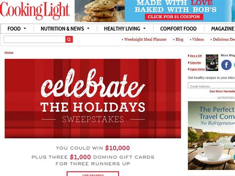 Cooking Light Sweepstakes - cooking light celebrate the holidays sweepstakes