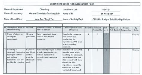 chemical risk assessment template
