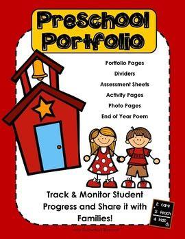 Preschool Portfolio With Work Sles By 2care2teach4kids Tpt Children S Portfolio Template Free