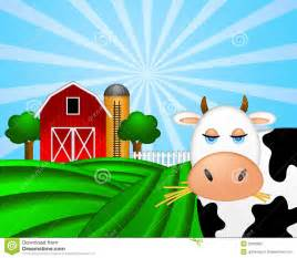 Raise This Barn Cow On Green Pasture With Red Barn With Grain Silo Royalty