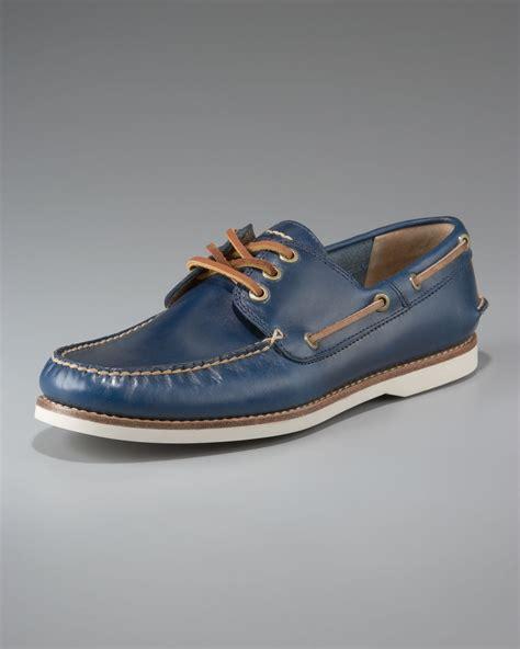 frye boat shoes review frye sully boat shoe blue in blue for men lyst