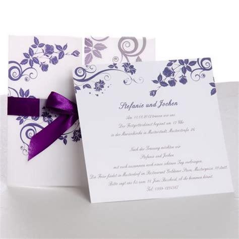 Einladungskarten Hochzeit Lila by Klassische Hochzeitskarten Traumhafte Einladungskarten