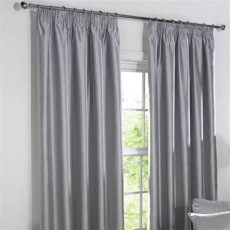 faux silk curtains blackout curtains silver faux silk pencil pleat blackout