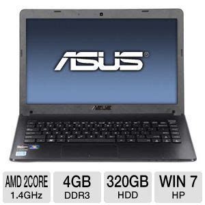 Laptop Asus Intel Amd asus x401u ebl4 laptop computer amd dual e1 1200 1 4ghz 4gb ddr3 320gb hdd 14 display