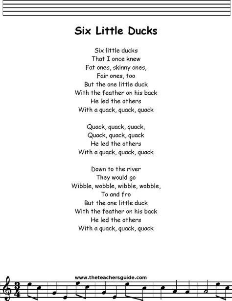 back number song lyrics six little ducks lyrics printout my future classroom