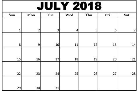july calendar template july 2018 calendar template printable